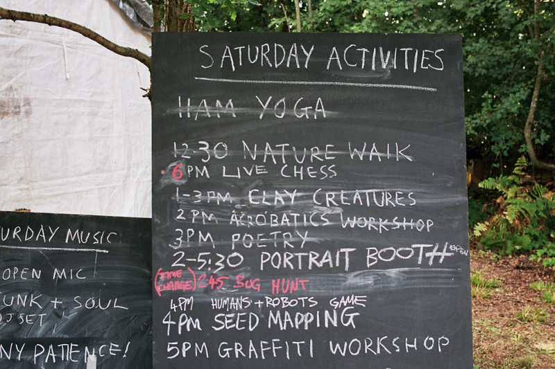 Activities board at Chin Up 2018. Photo by Joshua Jolly